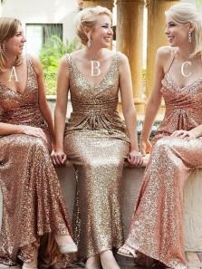 Gorgeous Sheath V Neck Open Back Ruffled Blush Sequins Long Bridesmaid Dresses