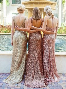 Gorgeous Sheath V Neck Open Back Ruffled Blush Sequins Long Bridesmaid Dresses