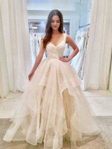 Charming Ball Gown V Neck Open Back Tulle & Organza Ivory Wedding Dresses
