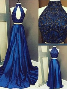 Gorgeous Two Piece A Line Halter Open Back Navy Long Prom Dresses with Beading, Elegant Evening Dresses PD1018017