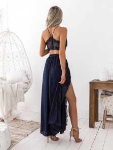 Charming A Line V Neck Spaghetti Straps Two Piece Split Chiffon Navy Lace Long Prom Dresses, Simple Evening Party Dresses PD1019001
