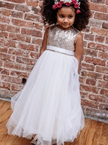 Cute A Line Round Neck Tulle and Sequins White Flower Girl Dresses with Bow Under 100