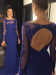 Charming Mermaid Scoop Open Back Long Sleeves Royal Blue Lace Long Prom Dresses with Beading, Elegant Evening Dresses