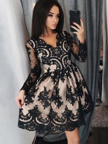 Gorgeous A Line V Neck Open Back Long Sleeves Black Lace Short Prom Dresses with Beading, Cute Short Homecoming Dresses