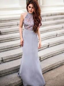 Charming Mermaid Halter Grey Lace Long Bridesmaid Dresses with Train