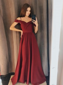 Charming A Line Off the Shoulder Burgundy Satin Long Prom Dresses with Spaghetti Straps, Beautiful Party Dresses PD1019002