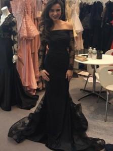 Charming Mermaid Off the Shoulder Long Sleeves Lace Black Prom Dresses, Elegant Evening Dresses