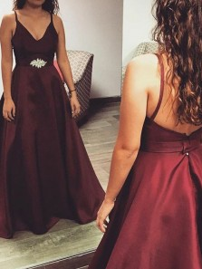 Vintage A Line V Neck Open Back Satin Burgundy Long Prom Dresses with Beading, Formal Evening Dresses