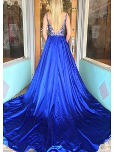 Gorgeous Ball Gown V Neck Open Back Royal Blue Long Prom Dresses with Beading, Sparkly Evening Dresses