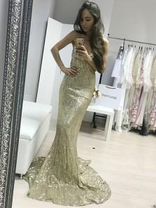 Charming Mermaid V Neck Backless Champagne Sequins Long Prom Dresses, Elegant Evening Party Dresses