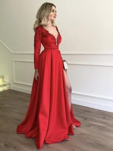 Elegant A Line V Neck Open Back Long Sleeves Red Lace Prom Dresses, Formal Evening Dresses with Beading