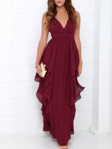 Fashion A Line V Neck Open Back Chiffon Burgundy Long Prom Dresses Under 100, Simple Evening Dresses