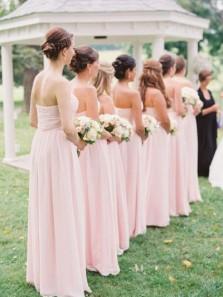 Simple Sweetheart Open Back Chiffon Ruffled Pink Long Bridesmaid Dresses Under 100