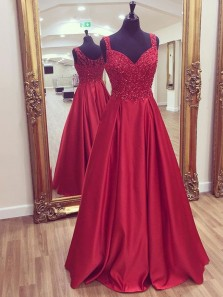Charming A Line Sweetheart Open Back Dark Red Lace Long Prom Dresses with Beading, Formal Evening Party Dresses PD1021002