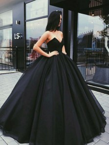 Gorgeous Ball Gown Sweetheart Open Back Black and Green Satin Long Prom Dresses Match Petticoat, Quinceanera Dresses PD1021004