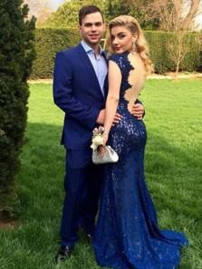 Modest Mermaid Round Neck Open Back Royal Blue Lace Long Prom Dresses, 2019 Long Evening Dresses