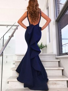 Modest and Unique Mermaid V Neck Open Back Ruffled Navy Long Prom Dresses, Beautiful Evening Dresses