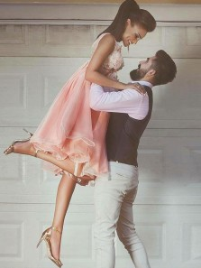 Fairy A Line V Neck Open Back Pink White Lace Knee Length Prom Dresses, Elegant Evening Dresses