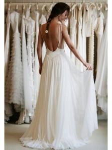 Fairy A Line Sweetheart Spaghetti Straps Backless Chiffon Lace Long Wedding Dresses, 2019 Summer Wedding Dresses, Beach Wedding Dresses