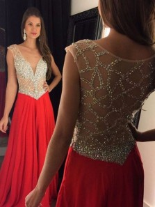 Gorgeous A Line V Neck Beaded Red Long Prom Dresses, Sparkly Evening Party Dresses