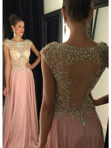 Elegant A Line Scoop Neck Blush Pink Long Prom Dresses with Beading, Gorgeous Evening Party Dresses