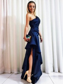 Unique Mermaid One Shoulder Ruffled Navy Long Prom Dresses, Beautiful Evening Party Dresses, Cocktail Dresses
