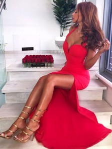 Elegant Mermaid Sweetheart Open Back Red Split Long Prom Dresses, Unique Long Evening Dresses