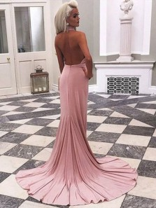 Beautiful Mermaid Halter Backless Blush Long Prom Dresses with Train, Charming Evening Dresses