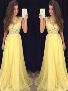 Beautiful A Line Round Neck Chiffon Yellow Lace Long Prom Dresses, Formal Evening Dresses