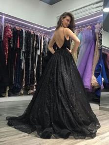 Sparkly Ball Gown V Neck Open Back Split Black Long Prom Dresses, Unique Evening Dresses PD1022010