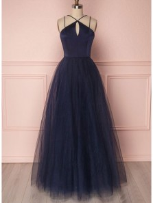 Unique A Line Cross Neck Open Back Tulle Navy Long Prom Dresses, Simple Evening Party Dresses