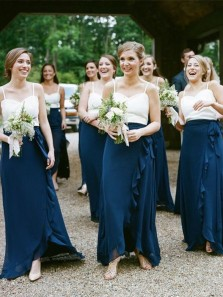 Charming Sheath Sweetheart Chiffon Navy and White Long Bridesmaid Dresses with Ruffled Under 100