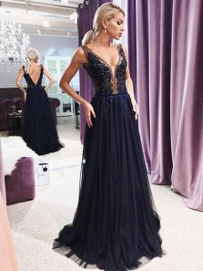 Modest A Line V Neck Open Back Navy Lace Long Prom Dresses with Beading, Elegant Evening Dresses