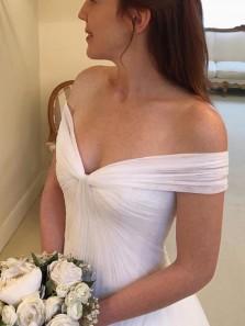 Elegant Ball Gown Off the Shoulder Chiffon White Long Wedding Dresses, Fairy Wedding Dresses WD1023001