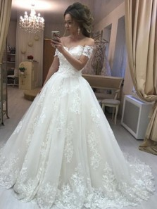 Gorgeous Ball Gown Off the Shoulder Open Back Tulle Lace Long Wedding Dresses, 2019 Wedding Gown