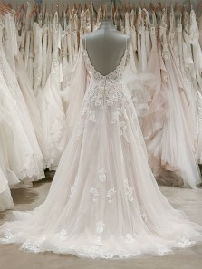 Elegant Ball Gown V Neck Open Back Lace Long Wedding Dresses, Gorgeous Wedding Gown