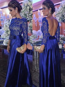 Elegant A Line Round Neck Open Back Long Sleeves Royal Blue Lace Long Prom Dresses, Gorgeous Evening Party Dresses PD1024005