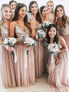 2019 Gorgeous A Line V Neck Spaghetti Straps Sequins Pink Long Bridesmaid Dresses, Beautiful Bridesmaid Gown BD1025001