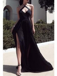 Gorgeous A Line Cross Neck High Split Black Long Prom Dresses, Sexy Evening Dresses
