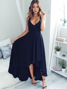 Simple A Line V Neck Open Back Navy High Low Prom Dresses, Cute Party Dresses Under 100
