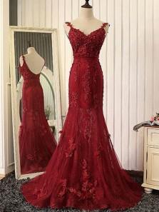 Elegant Mermaid Sweetheart Backless Spaghetti Straps Burgundy Lace Long Prom Dresses, Gorgeous Evening Dresses with Beading