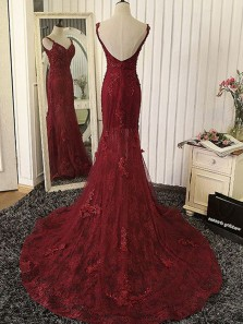 Elegant Mermaid Sweetheart Backless Spaghetti Straps Burgundy Lace Long Prom Dresses, Gorgeous Evening Dresses with Beading