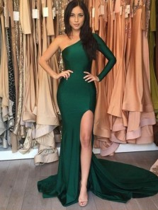 Charming Mermaid One Shoulder Long Sleeves Split Dark Green Long Prom Dresses with Train, Sexy Evening Dresses