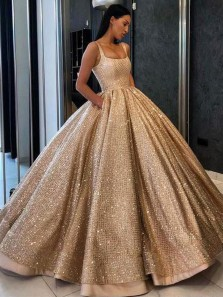 2019 Gorgeous Ball Gown Scoop Neck Open Back Gold Long Prom Dresses, Luxurious Evening Dresses PD1025006