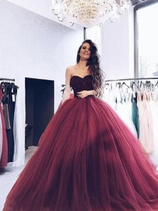 2019 Gorgeous Ball Gown Sweetheart Strapless Burgundy Long Prom Dresses with Beading, Quinceanera Dresses