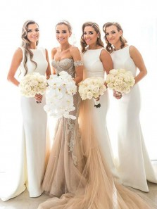 2019 Elegant Mermaid Round Neck White Long Bridesmaid Dresses with Train, Charming Bridesmaid Gown