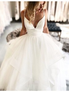 2019 Simple Ball Gown V Neck Spaghetti Straps Ivory Wedding Dresses, Long Wedding Gown