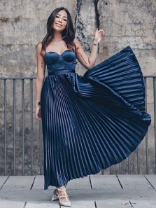 Charming A Line Sweetheart Navy Satin Long Prom Dresses, Simple Pleats Evening Dresses
