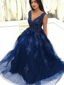 Charming V Neck Open Back Navy Lace Long Prom Dresses, Elegant Evening Dresses