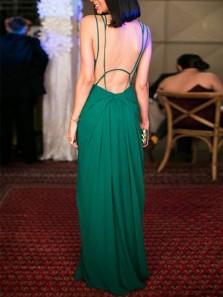 Elegant Sheath V Neck Cross Back Ruffled Chiffon Green Long Prom Dresses, Simple Evening Party Dresses